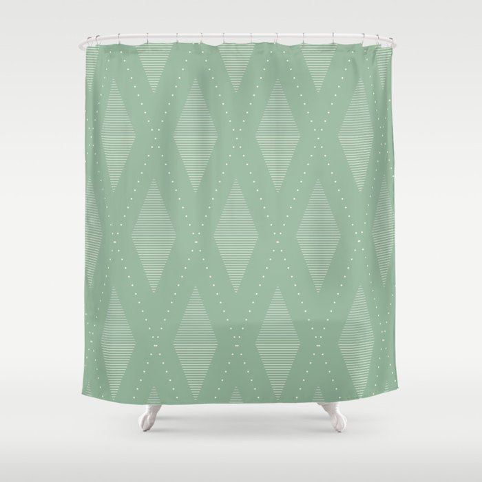 Diamond Pattern Sage Shower Curtain