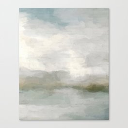Modern Abstract Painting, Light Teal, Sage Green, Gray Cloudy Weather Digital Prints Wall Art, Ocean Canvas Print