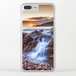 Ocean cascade at Rotherslade Bay Clear iPhone Case