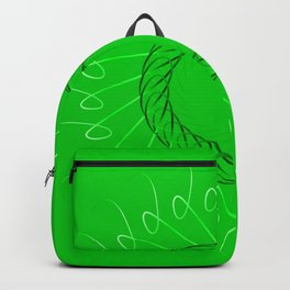 Spirographs yellow on a green background. Backpack