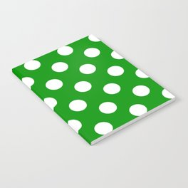 Islamic green - green - White Polka Dots - Pois Pattern Notebook