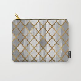 Moroccan Tile Pattern In Grey And Gold Carry-All Pouch