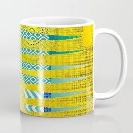 Yellow & Turquoise Abstract Art Collage Coffee Mug