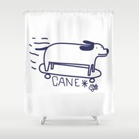 skate Shower Curtains featuring skate dog by HaloCalo