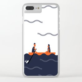 Rowing Boat Couple Clear iPhone Case