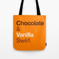 oitnb Tote Bags featuring Chocolate & Vanilla Swirl OITNB by Maria Giorgi
