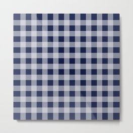 Flannel Plaid Check Navy Blue Metal Print