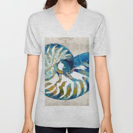 Beachy Art - Nautilus Shell Bleu - Sharon Cummings Unisex V-Neck