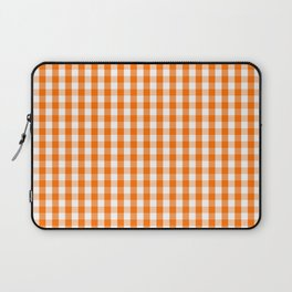 Classic Pumpkin Orange and White Gingham Check Pattern Laptop Sleeve