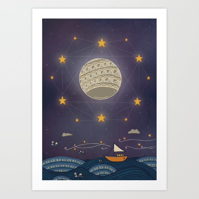 Sailing under the moon Art Print
