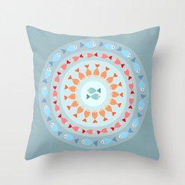 Fish mandala Throw Pillow