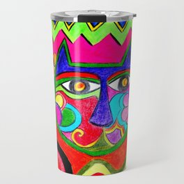 Abstract Catface with flowers Travel Mug