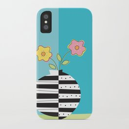 round whimsy vases with flowers iPhone Case