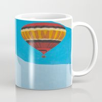 hot air balloons Mugs featuring Four Hot Air Balloons by Shelley Chandelier