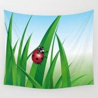 ladybug Wall Tapestries featuring ladybug by Li-Bro