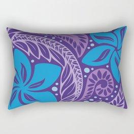 Circular Polynesian Hawaiian Blue Purple Floral Tattoo Rectangular Pillow