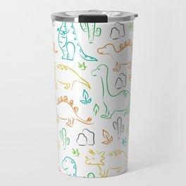 Colorful dinosaur pattern on white Travel Mug