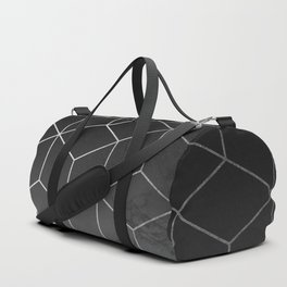 Silver Geometric Cubes Trendy White Grey Marble Duffle Bag