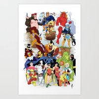 teen titans Art Prints featuring Teen Titans by poopsmoothie