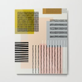 Abstract Funky Geometric Print with Organic Shapes and Stripes Metal Print