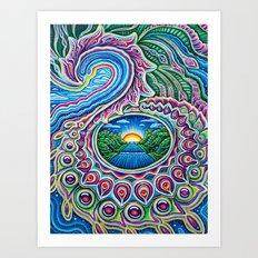 Sunrise Dragon Splash Art Print