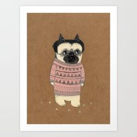 pug Art Prints featuring pug by maria elina