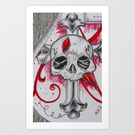 Cracked Skull Art Print
