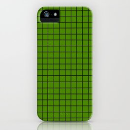 Green with Black Grid iPhone Case