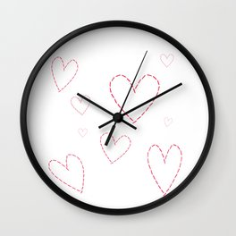 Seamless background with hearts sewn in red thread Wall Clock