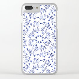 Dense pattern of blue flowers Clear iPhone Case