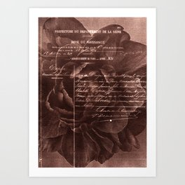 Letter and Flower, brown edition Art Print