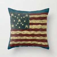 american flag Throw Pillows featuring American Flag by Argi Univrs