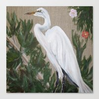 crane Canvas Prints featuring Crane by Lark Nouveau Studio