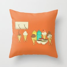 Ice Cream Hair Fun Throw Pillow