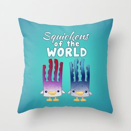 Squickens of the World Throw Pillow