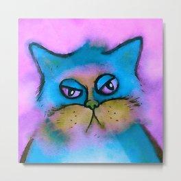 Bored Cat Watercolor Metal Print