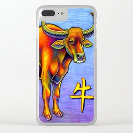 Chinese Zodiac Year of the Ox Colorful Bull Clear iPhone Case
