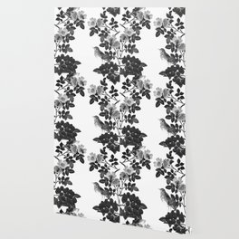Birds and the Bees Black and White Wallpaper