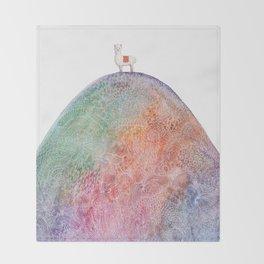 Alpaca on Rainbow Mountain Throw Blanket