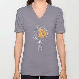 Bitcoin Bubble (white) Unisex V-Neck