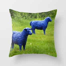 blue sheep Throw Pillow