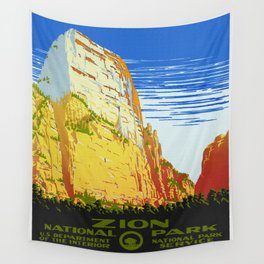 Zion National Park - Vintage Travel Wall Tapestry