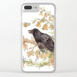 Autumnal Equinox Crow Bellflowers Clear iPhone Case
