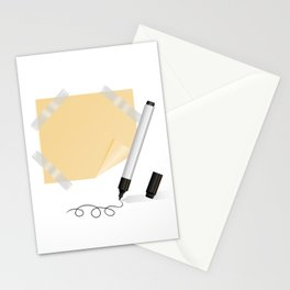 Black marker, yellow sticker with scotch tape Stationery Cards