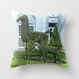 Horse and Foal Topiary Throw Pillow