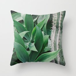 Green Cacti Throw Pillow