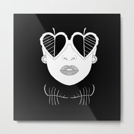 Woman with glasses Metal Print