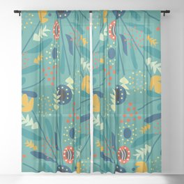 Floral dance in blue Sheer Curtain