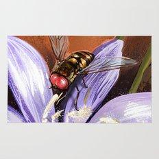 Fly on flower 10 Rug