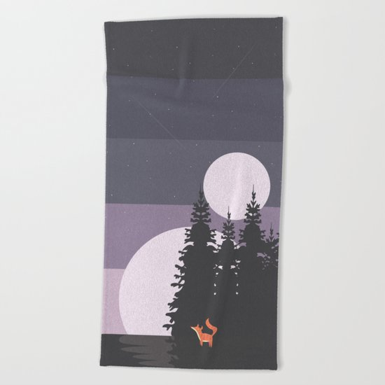 Two Moon Night Beach Towel
